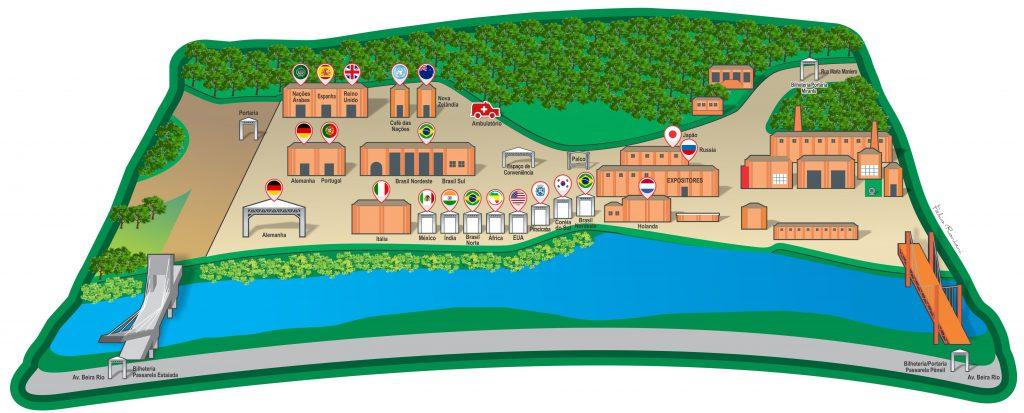 Mapa com a localização dos restaurantes e acessos à Festa das Nações (Arte: Fábio Rontani)